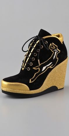 Gold Wedge Sneaker with Impala