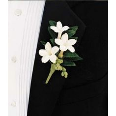 classic:Boutonniere made with Stephanotis, camellia leaf and green berries.
