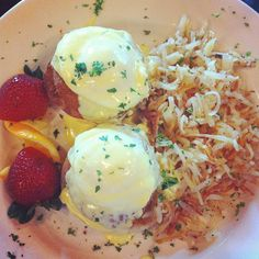 Crabcake Benedict served with Hashbrowns