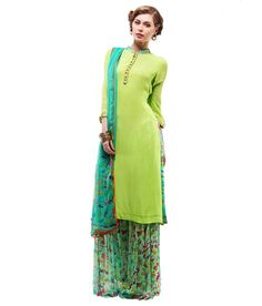 Samor Straight Crepe Kurta With Digital Borders On Placket And Cuffs Teamed With Digtal Box Pleats Palazzos, http://www.snapdeal.com/product/samor-straight-crepe-kurta-with/1269803876