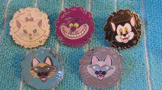 DISNEY PIN CATS SET OF 5 HIDDEN MICKEY CHESHIRE MARIE FIGARO SI & AM