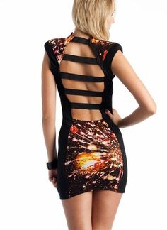 printed strappy back dress  baby you're a firework...lol