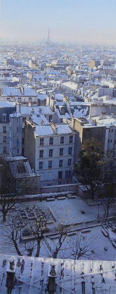 THIERRY DUVAL - Paris 'Les toits de Montmartre sous la neige' (Aquarelle)