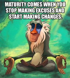 Maturity comes when you stop making excuses and start making changes... #quote #philosophy Great Quotes, Funny Quotes, Inspirational Quotes, Funny Memes, Motivational Quotes, Positive Quotes, Hilarious Sayings, Gym Memes, Funny Comedy