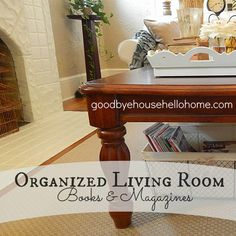 Top Organizing Bloggers Family Room Tour :: Organized Books and Magazines