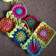 Continuos join-as-you-go granny squares
