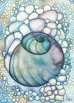 NAUTILUS 4 x 6 print of detailed watercolour artwork in turquoise olive green…
