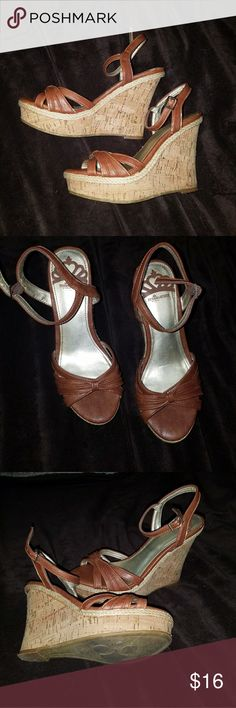 Fergalicious sandle wedges Cork heel, strappy sandle wedges great condition Fergalicious Shoes Wedges