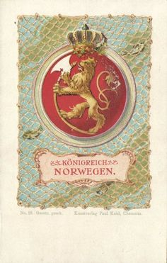Norway Norge Königreich Norwegen Coat of Arms 1899 | eBay