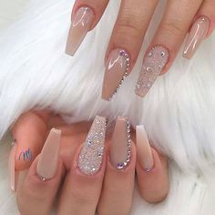 70 Winter Nail Art Ideas Cooler Than The Weather 70 Winter Nail Art Ideas Cooler Than The Summer Acrylic Nails, Best Acrylic Nails, Acrylic Nail Designs, Nail Art Designs, Neutral Acrylic Nails, Diamond Nail Designs, Dope Nails, Swag Nails, Gorgeous Nails