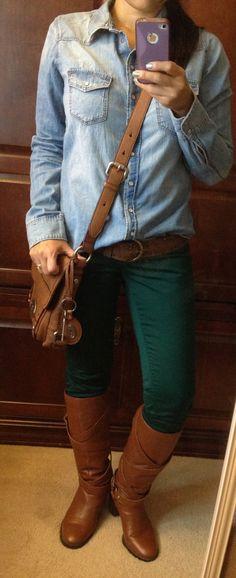Denim shirt & hunter green pants