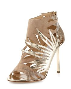 Jimmy Choo Lissy Cutout Metallic Leather Sandal, Nude
