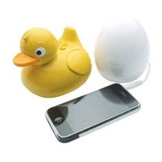 IDuck - Waterproof Radio and Wireless Speaker. plug your phone into the egg and you can take the waterproof ducky into the bathtub or shower with you and it wirelessly transmits your music!