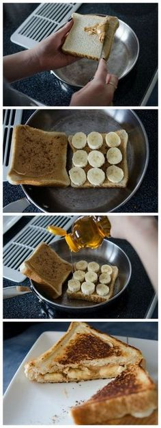 Peanut Butter and Banana Sandwich. Plus Six Gooey Peanut Butter Recipes This grilled peanut butter and banana sandwich looks delicious! Toast with bananas and peanut butter was my pregnancy craving. Add honey and cinnamon. I'm in love! I Love Food, Good Food, Yummy Food, Delicious Snacks, Breakfast Recipes, Snack Recipes, Dessert Recipes, Sandwich Recipes, Banana Breakfast