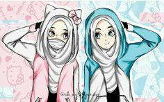 Best Friend Drawings, Bff Drawings, Spongebob Drawings, Friend Cartoon, Friend Anime, Girly M Instagram, Anime Sisters, Hijab Drawing, Islamic Cartoon