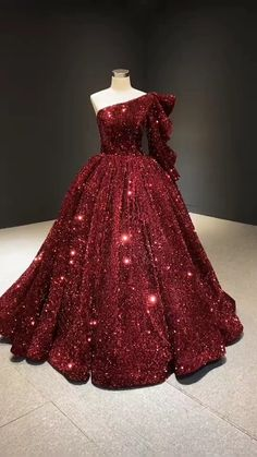 New Glitter White Sequin Ball Gown Prom Dresses One Shoulder Quince Dress Vintage Quinceanera dresses online. Red Ball Gowns, Ball Gowns Prom, Ball Gown Dresses, Ball Gowns Evening, Pageant Dresses, Prom Outfits, Bridal Outfits, Dress Outfits, Pretty Prom Dresses