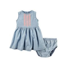 Baby Girl Carter's Embroidered Chambray Denim Dress & Bloomers Set, Size: 24 Months, Blue Other