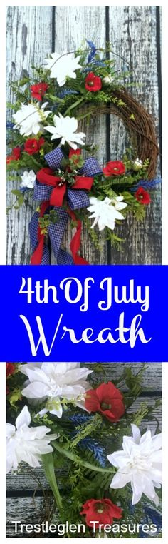 This 4th of July wreath will look spectacular on your front door as part of your front porch decor. Americana wreaths can be displayed from Memorial day through Labor Day