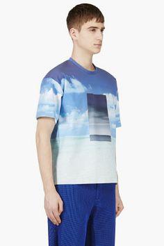 Calvin Klein Collection SSENSE Exclusive Blue Neoprene Sunny & Stormy Print for men | SSENSE
