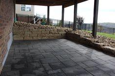 Sandstone Retaining Wall - Grandview Paver Patio Landscape Materials, Landscape Design, Bluestone Pavers, Step Treads, Sandstone Wall, Natural Stone Veneer, Landscape Maintenance, Construction Services, Outdoor Areas