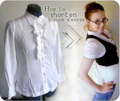 Shortening blouse sleeves using elastic casings   Upcycle