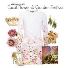 """""""Masquerade: Epcot Flower & Garden Festival"""" by jivy44 ❤ liked on Polyvore featuring Les Néréides, Oscar de la Renta, Masquerade, MSGM and Dee Keller"""