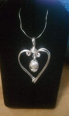 Silver Heart and Pearl Pendant by jDesigns129 on Etsy, $14.00