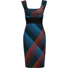Roland Mouret - Arabella Printed Wool-blend Crepe Dress ($1,076) ❤ liked on Polyvore featuring dresses, petrol, crepe dress, multi color dress, multicolored dress, blue crepe dress and multi-color dress