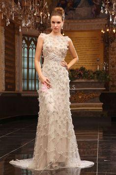 Exquisite Sequin Floral Sleeveless Bateau Neck Extravagant Evening Dress