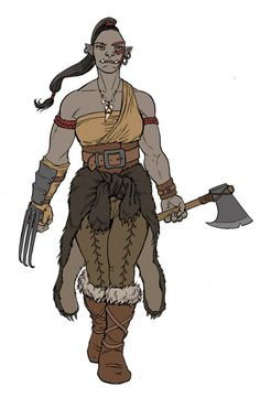 Halforc female orcThe fourth member of the Heroes of Owermouth is Grenka Bearfist. She likes bears, and hitting things really really hard with her axe. She believes that the clerics of the orcish god Gruumsh should take a chill pill. Fantasy Character Design, Character Design Inspiration, Character Concept, Character Art, Character Ideas, Dungeons And Dragons Characters, D D Characters, Fantasy Characters, Fantasy Races