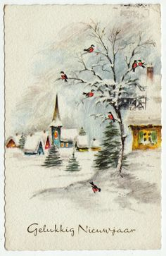 Postcards - Greetings & Congrads # 524 - Happy New Year - Winter Scene Vintage Greeting Cards, Vintage Christmas Cards, Vintage Holiday, Christmas Art, Christmas Greetings, Vintage Postcards, Vintage Images, Christmas Holidays, Christmas Letters