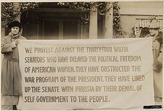 Suffragette banner in Washington, District of Columbia (1917-1918). National Archives, Record Group 165, ARC 533777.