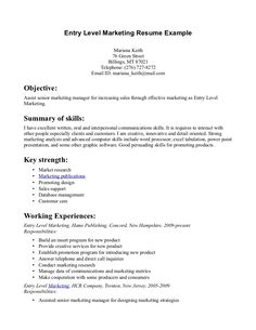 Entry Level Marketing Resume Samples | Entry Level Marketing Resume Example  » Entry Level Marketing