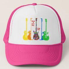 Pink Rock N Roll Day July 9th Five Electric Guitars Trucker Hat On GiftsHolidays Blog https://shopnprizes.wordpress.com/2018/07/06/rock-n-roll-day/