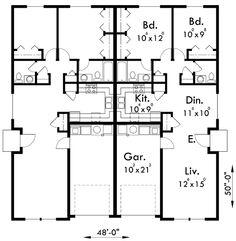 Main Floor Plan for D-449 Duplex house plans, one story duplex house plans, duplex house plans for narrow lots, D-449