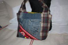 Sac à main cabas réversible en jean recyclé, imprimé ethnique et laine  Tissu Ethnique, 23dc8e92f63
