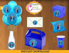 FROZEN Stickers - Instant Download - Circular Stickers - Party Favor - Tags - DIY - Printables  by CraftyCreationsUAE, $3.50