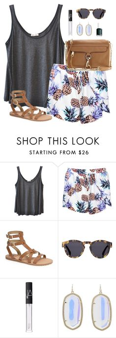 """pineapple print"" by classically-preppy ❤ liked on Polyvore featuring American Vintage, Boohoo, Sam Edelman, Illesteva, Rebecca Minkoff, NARS Cosmetics, Kendra Scott and Essie"