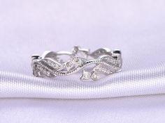 Full Eternity diamond Wedding ringMilgrain by milegem on Etsy