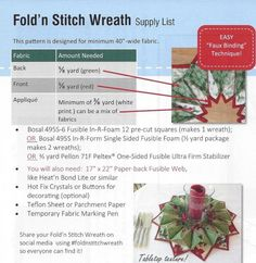 Fold N Stitch Wreath Pattern-Free - Bing images Quilting Projects, Quilting Designs, Sewing Projects, Sewing Ideas, Candle Making For Beginners, Candle Making Supplies, Christmas Sewing, Christmas Crafts, Christmas Decorations