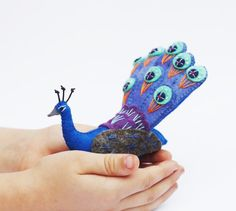 Mothers Day gift, Soft Sculpture, Peacock, Felt Ornament, Waldorf Steiner, felt bird, Nature, Purple, Aqua and Orange embroidered wool. by FantailsAndFeet on Etsy https://www.etsy.com/listing/223862788/mothers-day-gift-soft-sculpture-peacock