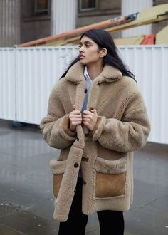 Neelam in shearling coat