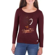 Ncaa Virginia Tech Hokies Girls Long Sleeve Scoop Neck Tee, Size: XS, Red