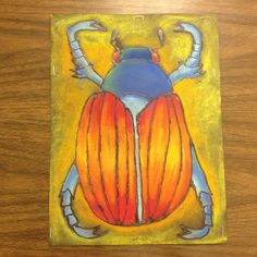 Glue and chalk resist beetle project