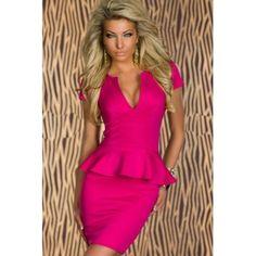 USD13.49Sexy U Neck Sleeveless Pink Polyester Sheath Mini Dress