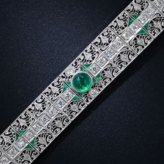 Edwardian Platinum Diamond and Emerald Bracelet, ca. 1910-20