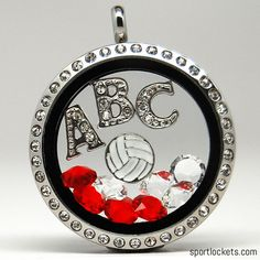 Volleyball-themed lockets from SportLockets.com. Customize with your own colors and letters for a friend or family's team! Perfect for high school.
