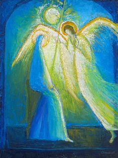 Macha Chmakoff NOUVEAU TESTAMENT et Saints  -Annonciation à l'ange émerveillé (40x30)