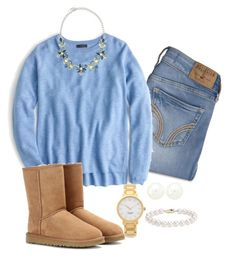 """""""Baby blue and pearls"""" by keileeen ❤ liked on Polyvore featuring Hollister Co., J.Crew, UGG Australia, Stella & Dot, Charlotte Russe, Kate Spade and Blue Nile"""