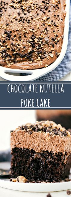 The Best Chocolate Nutella Poke Cake - A delicious and easy to make chocolate nutella poke cake with an incredible mousse frosting. Poke Cake Recipes, Dessert Recipes, Cheesecake Recipes, Nutella Cake, Nutella Mousse, Mousse Cake, Chocolate Poke Cakes, Chocolate Frosting, Nutella Drink